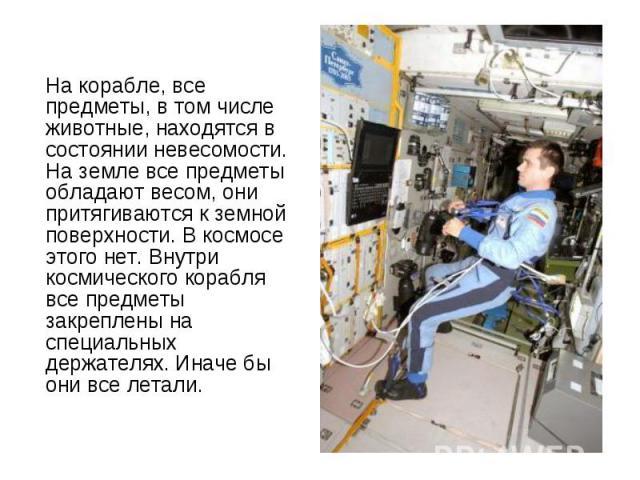 На корабле, все предметы, в том числе животные, находятся в состоянии невесомости. На земле все предметы обладают весом, они притягиваются к земной поверхности. В космосе этого нет. Внутри космического корабля все предметы закреплены на специальных …