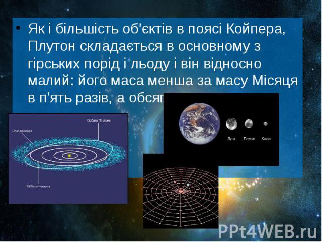 Як і більшість об'єктів в поясі Койпера, Плутон складається в основному з гірських порід і льоду і він відносно малий: його маса менша за масу Місяця в п'ять разів, а обсяг— в три рази. Як і більшість об'єктів в поясі Койпера, Плутон складаєть…