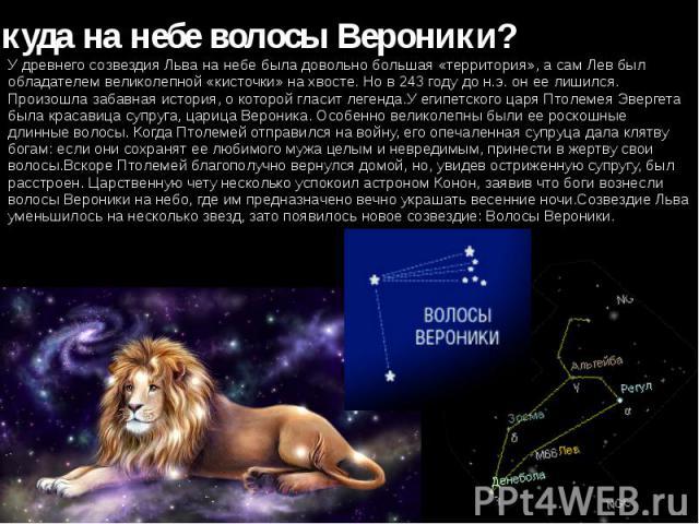 Откуда на небе волосы Вероники? У древнего созвездия Льва на небе была довольно большая «территория», а сам Лев был обладателем великолепной «кисточки» на хвосте. Но в 243 году до н.э. он ее лишился. Произошла забавная история, о которой гласит леге…