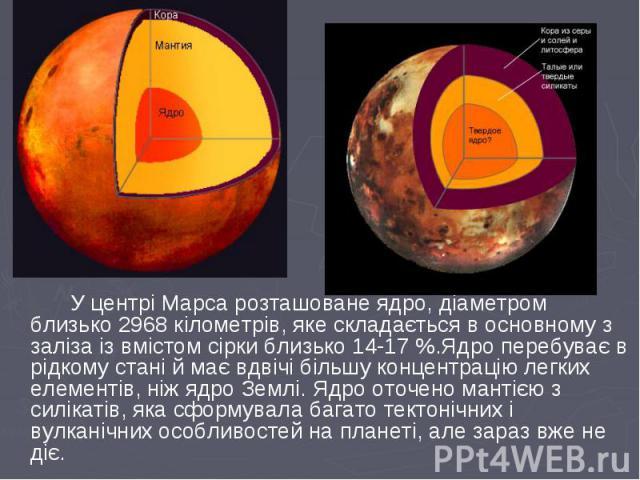 У центрі Марса розташоване ядро, діаметром близько 2968 кілометрів, яке складається в основному з заліза із вмістом сірки близько 14-17 %.Ядро перебуває в рідкому стані й має вдвічі більшу концентрацію легких елементів, ніж ядро Землі. Ядро оточено …