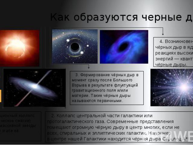 Как образуются черные дыры 1. Гравитационный коллапс (катастрофическое сжатие) достаточно массивной звезды на конечном этапе её эволюции.