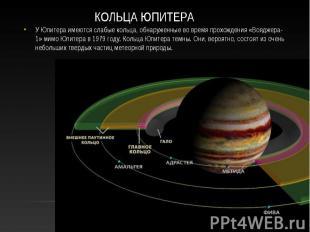 У Юпитера имеются слабые кольца, обнаруженные во время прохождения «Вояджера-1»