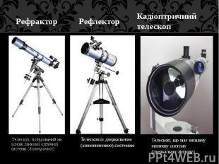 Телескоп, побудований на основі лінзової оптичної системи (діоптричної) Телескоп