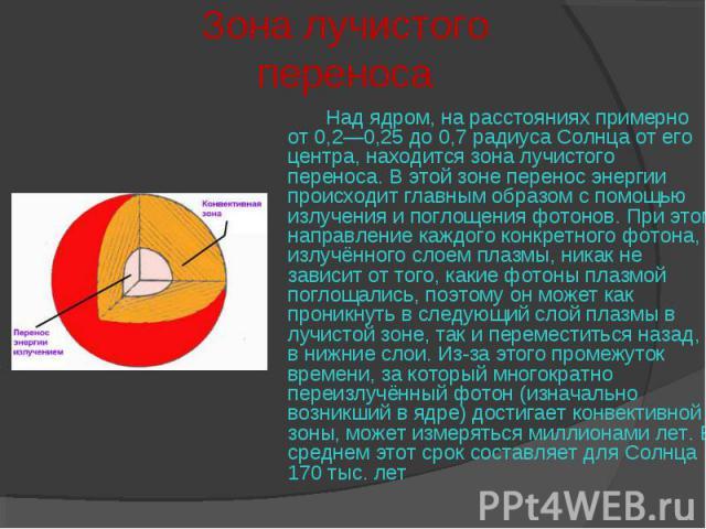 Над ядром, на расстояниях примерно от 0,2—0,25 до 0,7 радиуса Солнца от его центра, находится зона лучистого переноса. В этой зоне перенос энергии происходит главным образом с помощью излучения и поглощенияфотонов. При этом направление каждого…