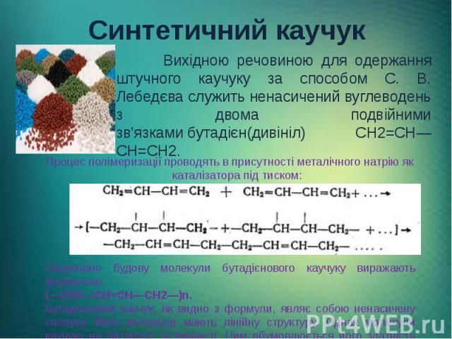 Синтетичний каучук Вихідною речовиною для одержання штучного каучуку за способом С. В. Лебедєва служить ненасичений вуглеводень з двома подвійними зв'язкамибутадієн(дивініл) CH2=CH—CH=CH2.