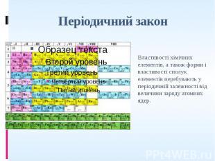 Періодичний закон Властивості хімічних елементів, а також форми і властивості сп