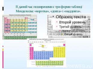 В даний час поширеними є три форми таблиці Менделєєва: «коротка», «довга» і «над