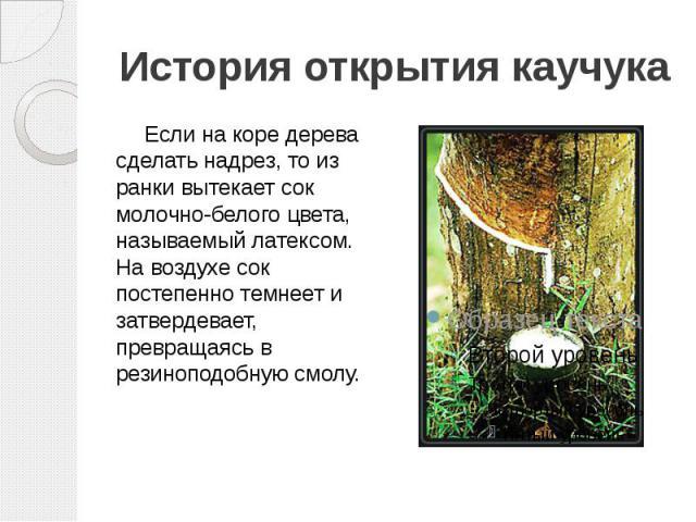 История открытия каучука Если на коре дерева сделать надрез, то из ранки вытекает сок молочно-белого цвета, называемый латексом. На воздухе сок постепенно темнеет и затвердевает, превращаясь в резиноподобную смолу.