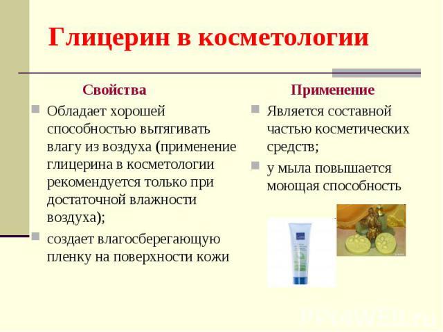 Свойства Свойства Обладает хорошей способностью вытягивать влагу из воздуха (применение глицерина в косметологии рекомендуется только при достаточной влажности воздуха); создает влагосберегающую пленку на поверхности кожи