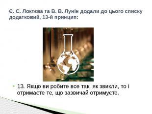 Є. С. Локтєва та В. В. Лунін додали до цього списку додатковий, 13-й принцип: 13