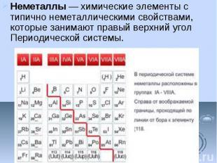 Неметаллы—химические элементыс типично неметаллическими свойст