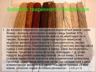 До волокон тваринного походження відносяться вовна і шовк. Вовна - волокна волос
