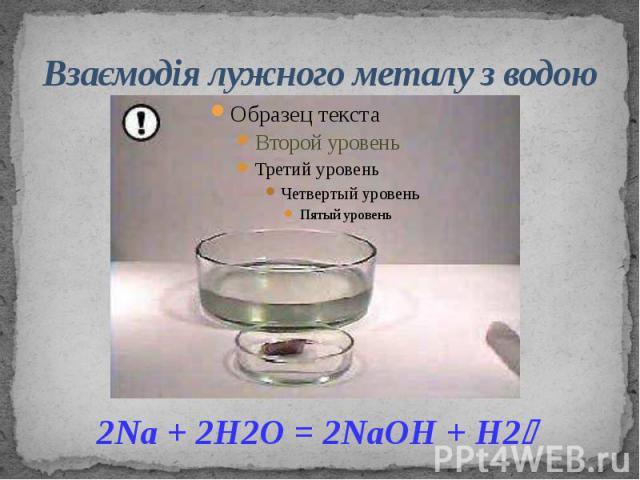 Взаємодія лужного металу з водою