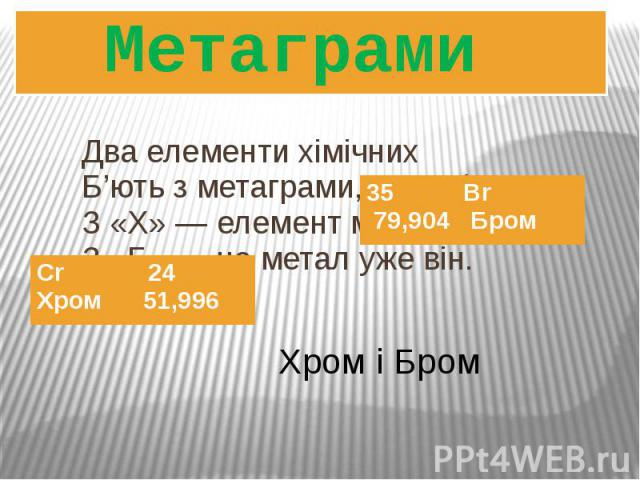 Два елементи хімічних Б'ють з метаграми, як дзвін: З «Х» ― елемент металічний, З «Б» ― не метал уже він. Метаграми