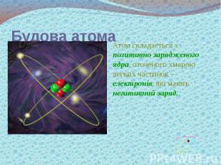Будова атома Атом складається з позитивно зарядженого ядра, оточеного хмарою лег