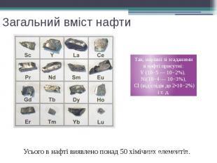 Загальний вміст нафти Усього в нафті виявлено понад 50 хімічних елементів.