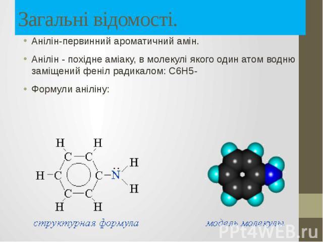 Загальні відомості. Анілін-первинний ароматичний амін. Анілін - похідне аміаку, в молекулі якого один атом водню заміщений феніл радикалом: С6Н5- Формули аніліну: