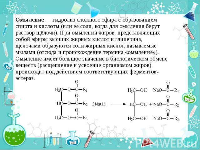 Омыление — гидролиз сложного эфира с образованием спирта и кислоты (или её соли, когда для омыления берут раствор щёлочи). При омылении жиров, представляющих собой эфиры высших жирных кислот и глицерина, щелочами образуются соли жирных кислот, назыв…