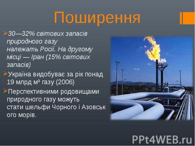 30—32% світових запасів природного газу належатьРосії. На другому місці—Іран(15% світових запасів) 30—32% світових запасів природного газу належатьРосії. На другому місці—Іран(15% світових запасів) Укр…
