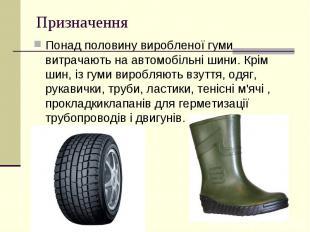 Призначення Понад половину виробленої гуми витрачають наавтомобільні шини.