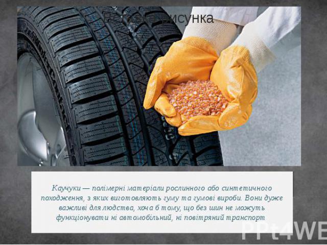 Каучуки — полімерні матеріали рослинного або синтетичного походження, з яких виготовляють гуму та гумові вироби. Вони дуже важливі для людства, хоча б тому, що без шин не можуть функціонувати ні автомобільний, ніповітряний транспорт.