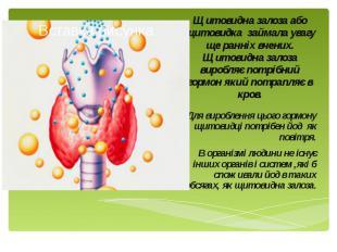 Щитовидна залоза або щитовидка займала увагу ще ранніх вчених. Щитовидна залоза
