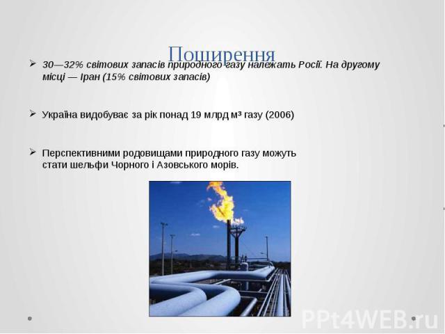 Поширення 30—32% світових запасів природного газу належатьРосії. На другому місці—Іран(15% світових запасів) Українавидобуває за рік понад 19млрд м³ газу (2006) Перспективними родовищами природного газу можуть ста…