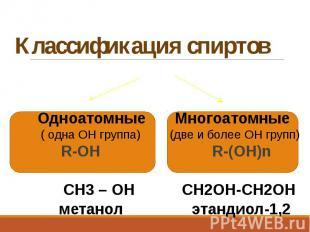 Классификация спиртов Одноатомные Многоатомные ( одна ОН группа) (две и более ОН