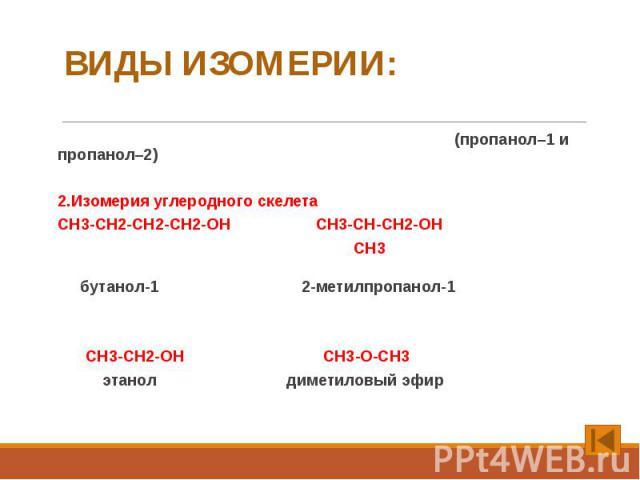 ВИДЫ ИЗОМЕРИИ: 1. Изомерия положения функциональной группы (пропанол–1 и пропанол–2) 2.Изомерия углеродного скелета CH3-CH2-CH2-CH2-OH CH3-CH-CH2-OH CH3 бутанол-1 2-метилпропанол-1 3.Изомерия межклассовая – спирты изомерны простым эфирам: СН3-СН2-ОН…