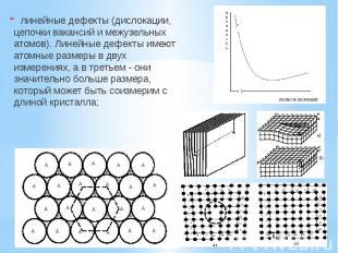 линейные дефекты (дислокации, цепочки вакансий и межузельных атомов