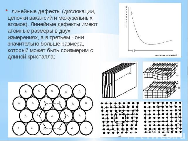 линейные дефекты (дислокации, цепочки вакансий и межузельных атомов). Линейные дефекты имеют атомные размеры в двух измерениях, а в третьем - они значительно больше размера, который может быть соизмерим с длиной кристалла;  …