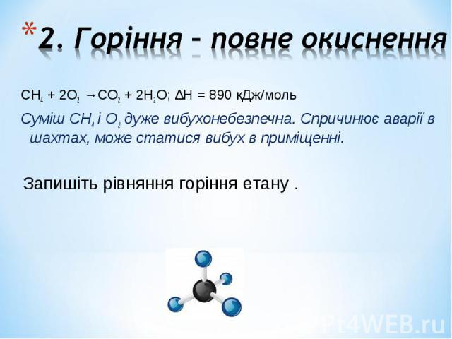 СН4 + 2О2 →СО2 + 2Н2О; ∆Н = 890 кДж/моль СН4 + 2О2 →СО2 + 2Н2О; ∆Н = 890 кДж/моль Суміш СН4 і О2 дуже вибухонебезпечна. Спричинює аварії в шахтах, може статися вибух в приміщенні.