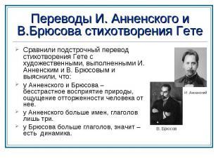 Переводы И. Анненского и В.Брюсова стихотворения Гете Сравнили подстрочный перев