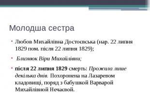 Молодша сестра Любов Михайлівна Достоєвська (нар. 22 липня 1829 пом. після 22 ли