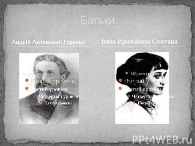 Батьки Андрій Антонович Горенко