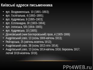 Київські адреси письменника