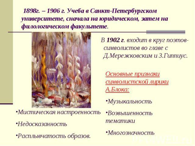 В 1902 г. входит в круг поэтов-символистов во главе с Д.Мережковским и З.Гиппиус. В 1902 г. входит в круг поэтов-символистов во главе с Д.Мережковским и З.Гиппиус.