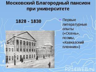 Московский Благородный пансион при университете 1828 - 1830