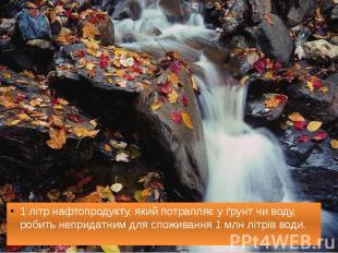 1 літр нафтопродукту, який потрапляє у ґрунт чи воду, робить непридатним для спо