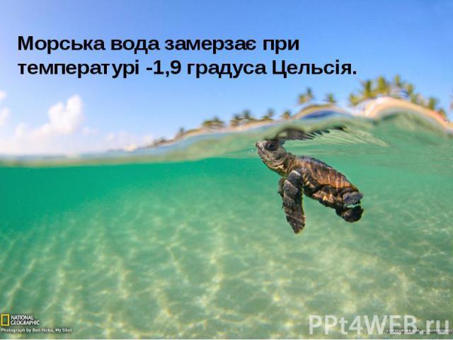 Морська вода замерзає при температурі -1,9 градуса Цельсія. Морська вода замерзає при температурі -1,9 градуса Цельсія.