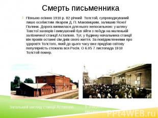 Смерть письменника Пізньою осінню 1910 р. 82-річний Толстой, супроводжуваний лиш