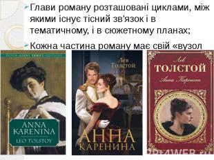 Глави роману розташовані циклами, між якими існує тісний зв'язок і в тематичному