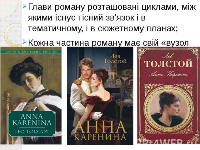 Глави роману розташовані циклами, між якими існує тісний зв'язок і в тематичному, і в сюжетному планах; Кожна частина роману має свій «вузол ідеї».
