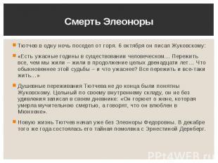 Смерть Элеоноры Тютчев в одну ночь поседел от горя. 6 октября он писал Жуковском