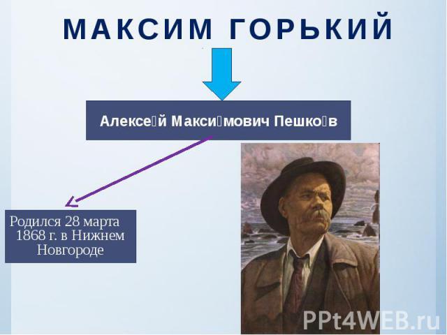 МАКСИМ ГОРЬКИЙ .