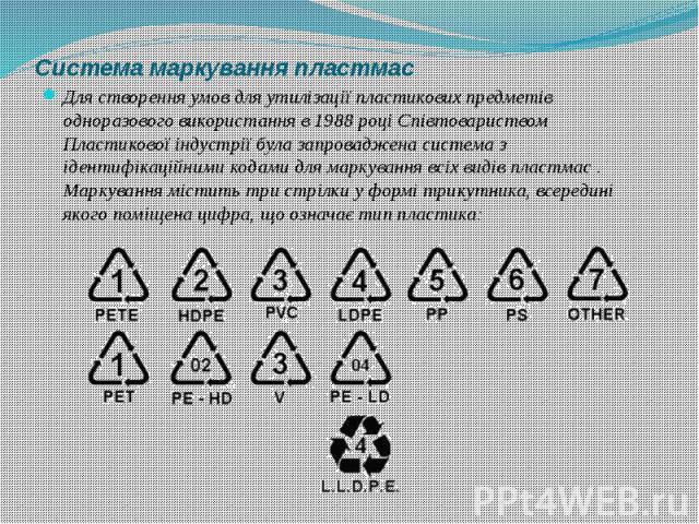 Система маркування пластмас Для створення умов для утилізації пластикових предметів одноразового використання в 1988 році Співтовариством Пластикової індустрії була запроваджена система з ідентифікаційними кодами для маркування всіх видів пластмас .…