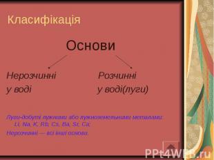 Класифікація Основи Нерозчинні Розчинні у воді у воді(луги) Луги-добуті лужними