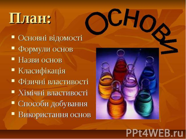 План: Основні відомості Формули основ Назви основ Класифікація Фізичні властивості Хімічні властивості Способи добування Використання основ