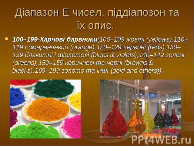 Діапазон Е чисел, піддіапозон та їх опис. 100–199-Харчові барвники(100–109 жовті (yellows),110–119 помаранчевий (orange),120–129 червоні (reds),130–139 блакитні і фіолетові (blues & violets),140–149 зелені (greens),150–159 коричневі та чорні (br…