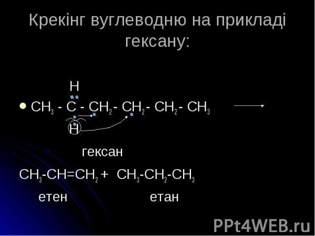 Н CH3 - C - CH2 - CH2 - CH2 - CH3 гексан CH3-CH=CH2 + CH3-CH2-CH3 етен етан